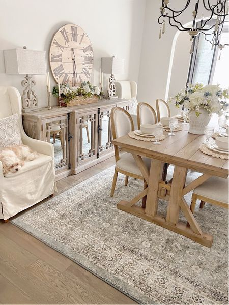 The Blue Austin rug is coming on 10/28 to Walmart.com.   Dining room, home decor, farmhouse. Table