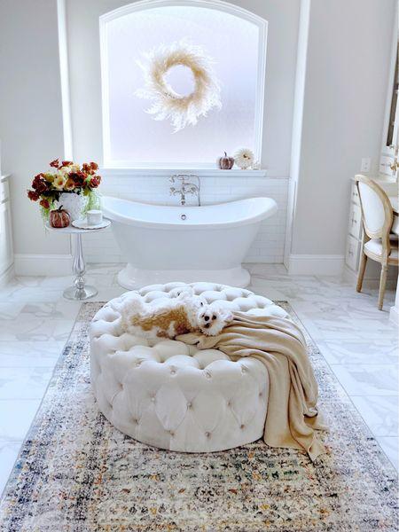 Bathroom decor, ottoman, fall decor   #LTKhome #LTKunder50 #LTKSeasonal