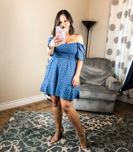 The off the shoulder polka dot blue dress is perfect for date night out, brunch outfit, girls night outfit. Sizing: Runs tts. It's loose in the hips so really keep in mind chess size and shoulders. Go up a size if you want more length. This dress is a little longer in back. #abercrombie #datenightdress #minidress #bluedress #girlstrip   #LTKunder50 #LTKsalealert