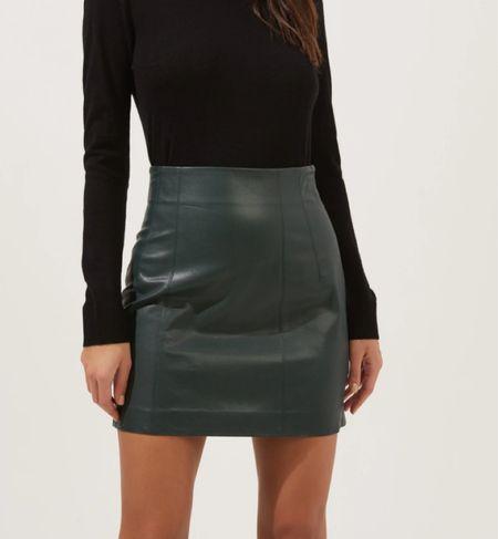 Green faux leather mini skirt   #LTKunder100 #LTKHoliday #LTKSeasonal