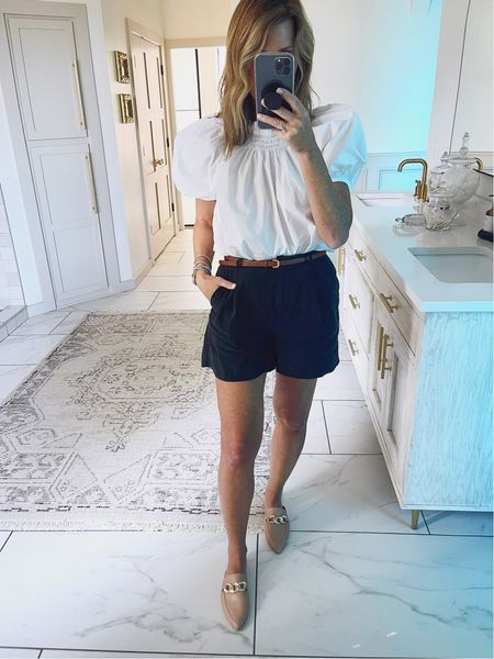 Smocked, puff sleeve blouse + shorts because it's not winter yet. Code: SPOILEDHOME15 on my affordable mules   (Wearing a small top, size 6 shorts) #fashionover50  #LTKshoecrush #LTKunder50 #LTKstyletip