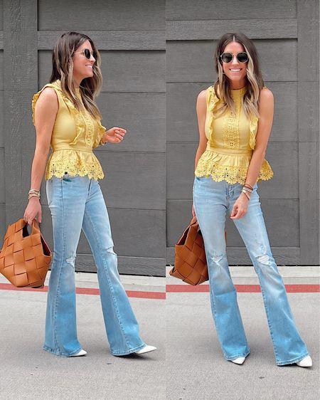 Yellow blouse. Flare jeans. Top.  Date night. White heels.    http://liketk.it/3hipV @liketoknow.it #liketkit #LTKstyletip #LTKunder50 #LTKsalealert