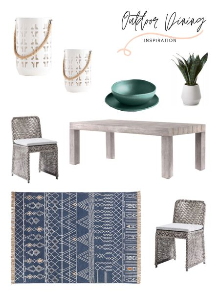 Outdoor dining area inspiration! This is a beautiful neutral boho vibe, with a pop of color. Loving this outdoor wood dining table, rattan dining chairs, and blue outdoor are rug! Shop the look: http://liketk.it/3gsuc #liketkit @liketoknow.it @liketoknow.it.home @liketoknow.it.family #LTKstyletip #LTKhome #LTKfamily