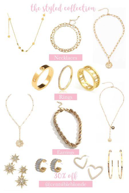 The styled collection Earrings, necklaces, rings, gold jewelry, affordable jewelry, bracelets.    #liketkit http://liketk.it/3ht4R @liketoknow.it #LTKunder50 #LTKsalealert #LTKtravel