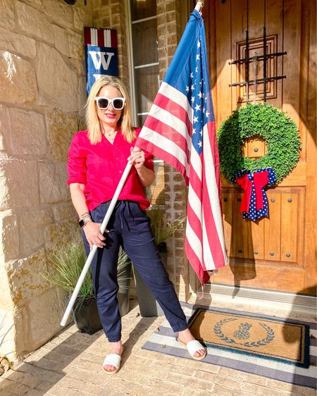 Who else is cheering on Team USA? I'm loving all the Olympic coverage, the patriotism and the excuse to wear red, white and blue! What's your favorite event to watch? I'm really into the swimming events this year! #teamusa #summerolympics #summeroutfit #linen #fashionover40   #LTKstyletip #LTKunder100 #LTKunder50