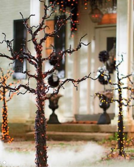 Planning for fall with pre-lit Halloween trees for our front door 🎃   http://liketk.it/3jgYm #liketkit @liketoknow.it #LTKhome   Halloween decor, Halloween home