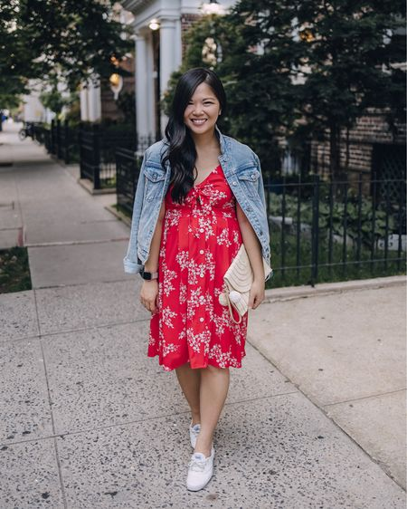 Amazon finds, beach vacation, summer fashion, date night outfits, summer dress, look for less, 4th of July outfit: denim jacket, red floral dress, red tie front dress, straw clutch with pom poms, pom pom clutch, pom pom bag, straw bag, white sneakers, white leather sneakers, Keds sneakers. @liketoknow.it http://liketk.it/3hR62 #liketkit   #LTKunder50 #LTKunder100 #LTKstyletip