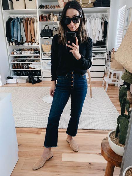 Easy, basic outfits. Simple neutral outfits. How to wear crop jeans.   Top- J.Crew xxs (old) Jeans- J.Crew petite 24 Loafers- J.Crew 5 Sunglasses- Quay     #LTKsalealert #LTKstyletip #LTKshoecrush