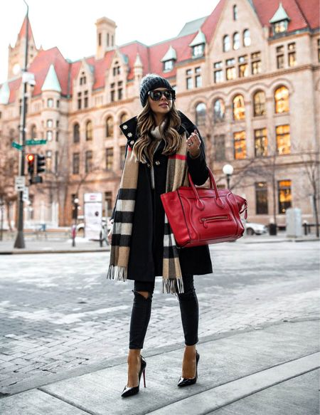 Fall workwear outfit  Parka coat Burberry scarf Topshop jeans Celine red luggage tote   #LTKitbag #LTKstyletip #LTKworkwear