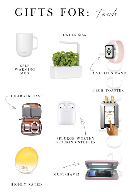 Holiday Gift Guide ❄️ For the Techies  Amazon gifts, AirPods, cooking, toaster, smart devices, alarm clock, mug, plants, watch, charger case, gifts   #LTKHoliday #LTKunder100 #LTKGiftGuide