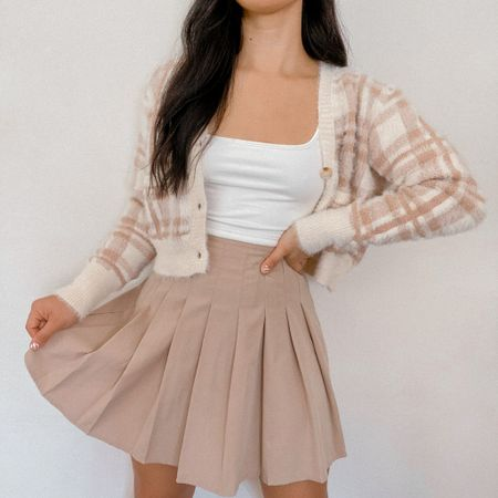 Get 15% off SHEIN with my discount code: Q3YGJESS  fuzzy plaid cardigan, white crop top, tennis skirt, pleated skirt, fall outfits, fall style, fall outfit inspo, fall outfit ideas, amazon fashion finds    #LTKstyletip #LTKsalealert #LTKunder50