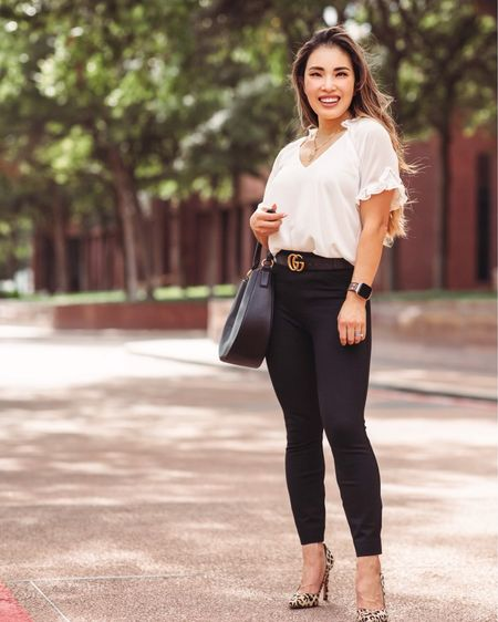 Nordstrom Anniversary Sale White ruffle blouse - XS  Spanx Perfect Pant ankle backseam - XSP Leopard pumps    #LTKitbag #LTKsalealert #LTKworkwear
