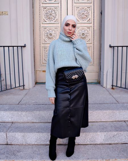 I finally found a black leather skirt I like! But I'm Heba so of course I paired it with a pastel colored crop top sweater 😄 http://liketk.it/2trIO #liketkit @liketoknow.it Follow me in the LIKEtoKNOW.it app to shop this look