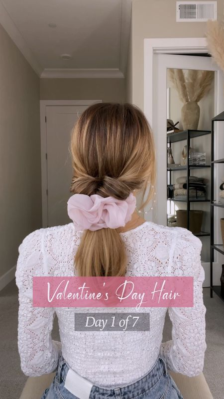 Loving this cute ponytail for Valentine's Day 💖 This top is so flattering. Wearing size XS.  #LTKVDay #StayHomeWithLTK