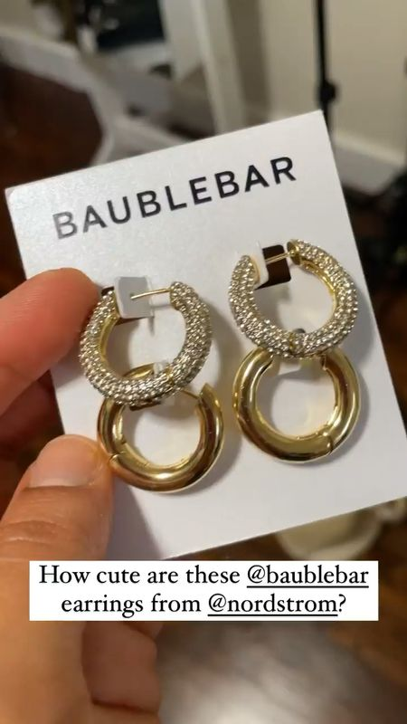 Loving these gold and crystal encrusted earrings by Bauble Bar that I got during the Nsale! They are perfect for summer with your hair pulled back!   #LTKunder100 #LTKsalealert #LTKunder50