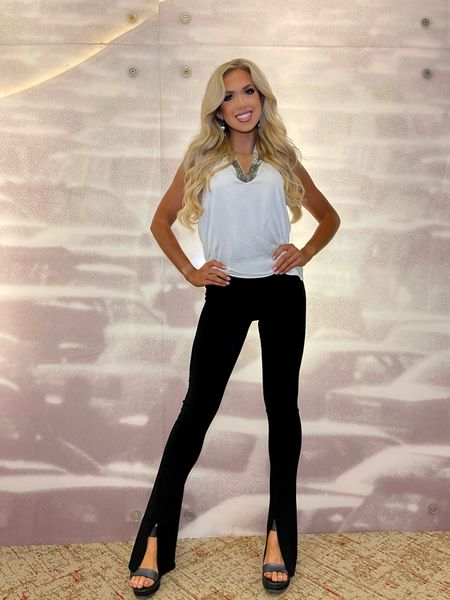Love these slit black pants! Perfect for so many occasions. Shop the outfit above  #LTKworkwear