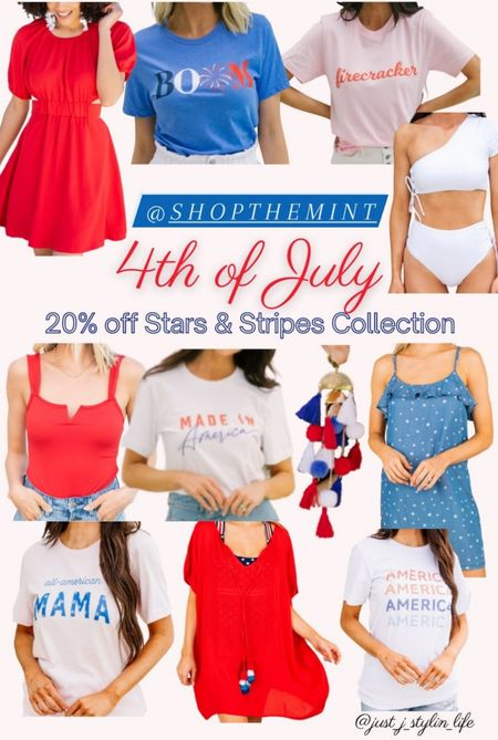Mint Julep Boutique - 20% off Stars & Stripes collection. No code needed. Save 20% on all 4th of July red white and blue pieces! Red dress, graphic tee, firecracker tee, white swimsuit, bodysuit, tassel earrings, star dress, mama shirt, america tee, patriotic. http://liketk.it/3ilcl @liketoknow.it #liketkit #LTKsalealert #LTKunder50 #LTKunder100 #LTKstyletip #LTKfamily