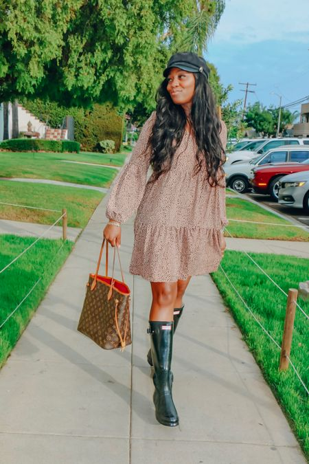 Amazon fashion! This dress is such a great steal, under $25 and runs true to size. I styled it with some hunter boots a d a paperboy hat.   #LTKstyletip #LTKFall #LTKshoecrush