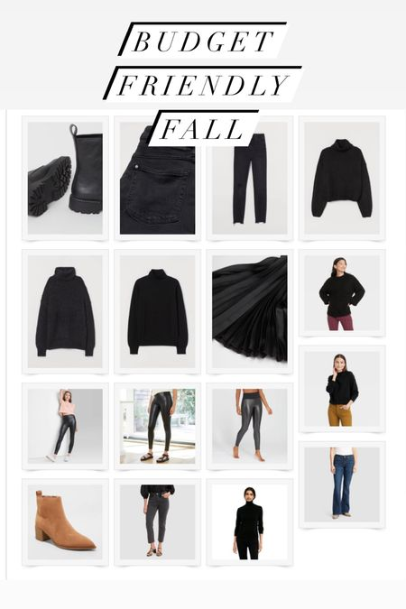 Budget friendly flair denim, straight cropped denim, boots, pleated skirt, faux leather leggings, and turtleneck sweaters! Come through target and H&M!