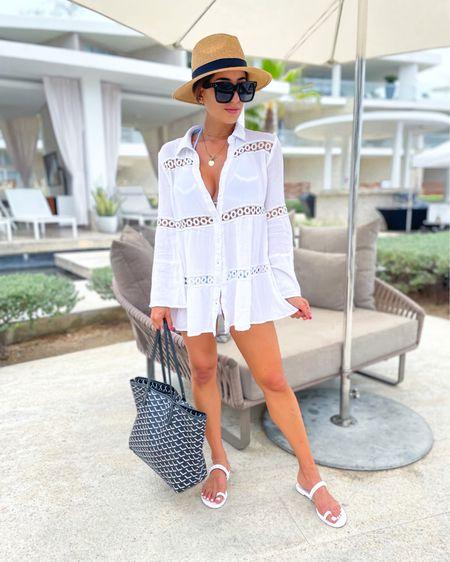 White coverup in Xs Amazon sunglasses and hat tote bag 40% off with Alexisb40 jelly sandals http://liketk.it/3i19h @liketoknow.it #liketkit #LTKsalealert #LTKunder50 #LTKunder100