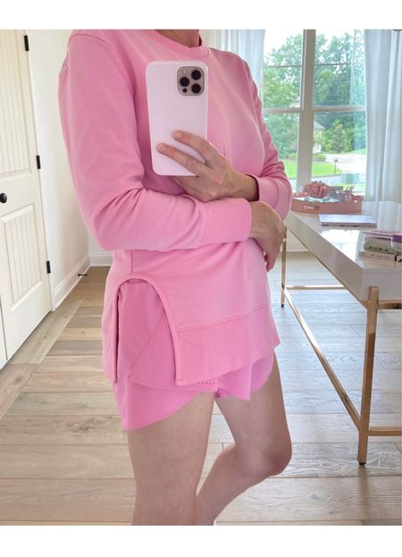 pink on pink. These Target shorts are comfy enough to sleep in and have a smooth wasteband. I sized up to a medium on the Amazon sweatshirt for a more oversized fit.   #LTKstyletip #LTKfit #LTKunder50