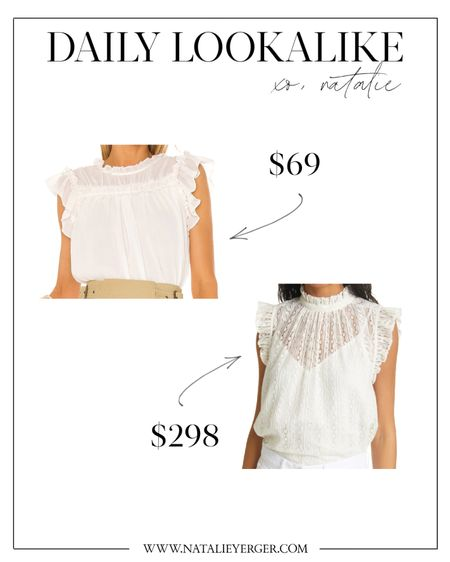 How sweet are these white babydoll tops? The investment option is by Frame and has a little more detailing (lace, v-neck lining), but the under $100 white summer blouse is pretty too! According to reviews the lookalike runs a little small in the armholes, just FYI!  white blouse, summer fashion, white top, sleeveless blouse, mock neck blouse, frame top, frame blouse, nordstrom tops, white summer top, white tops for summer, date night top, white date night top, affordable fashion, fashion on a budget, summer style, ruffle top white, lace top white  #LTKunder100 #LTKSeasonal #LTKworkwear