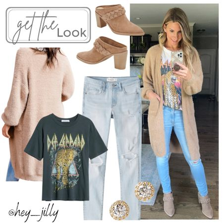 This fuzzy duster cardigan from pink lily is the softest! Wearing size xs. Just add a graphic tee and distressed denim    #LTKSeasonal #LTKshoecrush #LTKstyletip