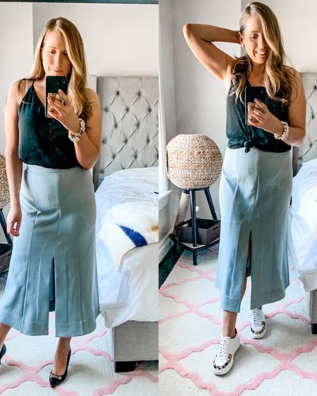 What's more your style - heels 👠 or sneaks 👟? Shared this gorgeous maxi on stories yesterday and I'm so obsessed! It comes in this gorg powder blue color and in white. Runs small, I'm wearing a size US 6 here. The skirt is also super breathable AND machine washable! 🙌🏻 I'm also loving the sneakers + dress trend (bc I'm too busy to be uncomfortable - amirite friends? 💁♀️You can grab all the outfit deets via @liketoknow.it and also snag $50 off your order with code katyforakermm50 if you wanted to give this skirt a try yourself. ✌🏻 . . .  http://liketk.it/2OXCv #liketkit #casualstyles #aboutalook #bloggerstyle #outfitoftheday #fashiondiaries #styleoftheday #womensfashion #fashionbloggerstyles #outfit #styleblog #realoutfitgram #lifestyleblogger #styleinspiration #officestyle #dressforwork #officeoutfit #workwearstyle #workfashion #workstyle #LTKworkwear #wfhstyle #wfhlife #wfhootd #maxiskirt #dressandsneakers