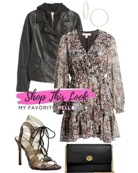 Date night outfit with floral dress and leather jacket.   #LTKshoecrush #LTKstyletip #LTKunder50