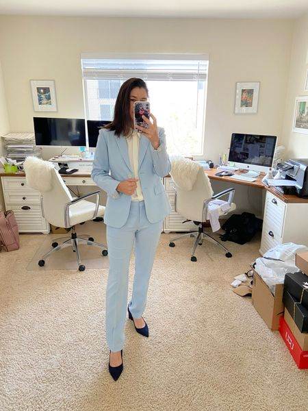 Summer suit, pastel suit, theory baby blue suit, Marc Fisher navy heels, stretch silk collared shirt. Office wear.  #LTKSeasonal #LTKstyletip #LTKworkwear