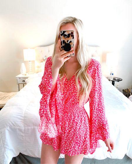 Pink floral romper http://liketk.it/39XTO #liketkit @liketoknow.it #LTKunder50 #LTKstyletip #LTKspring wearing size s