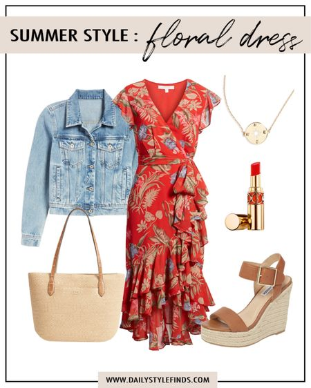 Summer floral dress outfit:  red floral wrap dress, denim jacket, summer sandals. #outfitguide #summerdresses #summersandals #summerstyle #floraldress #vacationoutfit http://liketk.it/3gytu #liketkit @liketoknow.it