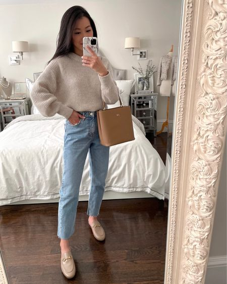 Casual cozy outfit for transitioning from winter to spring: Everlane sweater XXs in Almond (oversized fit), topshop jeans 25 (petite and regular fit the same!), Gucci mules 35.5 (linked a look for less as well), the daily edited bag. http://liketk.it/39mMv #liketkit @liketoknow.it #LTKstyletip #LTKunder100 #StayHomeWithLTK
