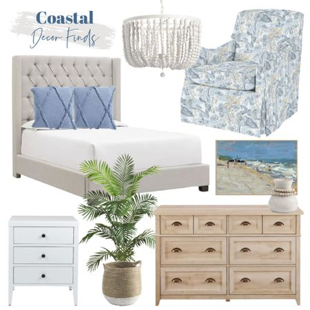 Daily coastal decor finds!   Upholstered bed, wood dresser, blue chair, faux palm plant, white nightstand, white beaded chandelier, coastal artwork, blue throw pillows  #LTKhome #LTKstyletip #LTKunder100
