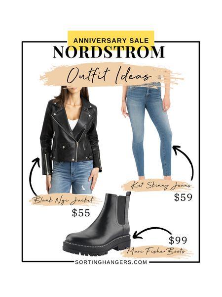 Nordstrom Anniversary sale outfit ideas ✨  Blank NYC Faux Leather Jacket | Marc Fisher Chelsea Boots | Kut from the Kloth Skinny Jeans    #LTKsalealert #LTKstyletip #LTKshoecrush