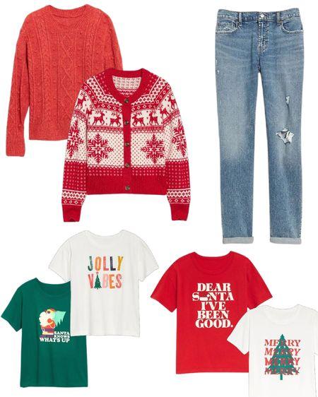 Comfy, classic Christmas outfit!  Old Navy sale alert  Christmas sweater, boyfriend jeans, Christmas T-shirt   #LTKHoliday #LTKsalealert #LTKfit