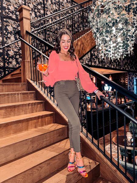 Coral smock puff sleeve top / olive green pants / multi color heels / date night look   #LTKunder50 #LTKstyletip #LTKsalealert
