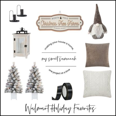 #ad Get all your holiday decor at WalmartHome this year! I've rounded up some great neutral selections for you here! Flocked Christmas trees, gnomes, cozy pillows and textiles, and pretty lanterns! #WalmartHome  #LTKhome #LTKHoliday #LTKSeasonal