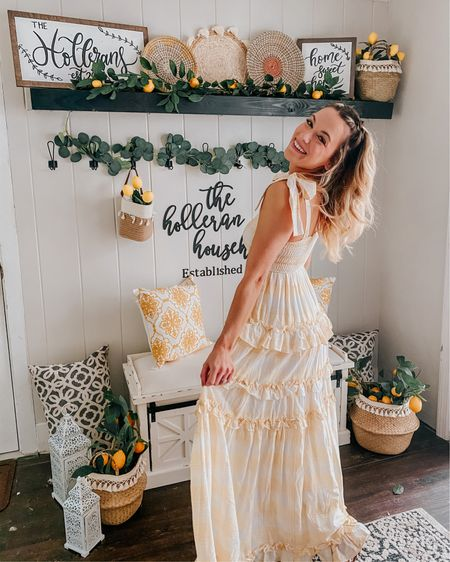 Sending you a little piece of sunshine today ☀️☺️🍋  I am in LOVE with the breezeway design this summer 🤗 I knew I wanted to keep the lemon theme from last year, but decided to add a little boho twist! 💛   Almost everything is from amazon (aside from my signs hehe 🤗) and absolutely everything is linked in LIKEtoKNOW.it! Dress is still in stock in two sizes!   http://liketk.it/3gOBC #liketkit @liketoknow.it