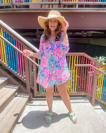 Be beach ready in this vacation outfit featuring my fav swim coverup! Also, these Birkenstock sandals are great for the beach at under $50!  Coverup fits oversized.   #LTKtravel #LTKswim #LTKSeasonal