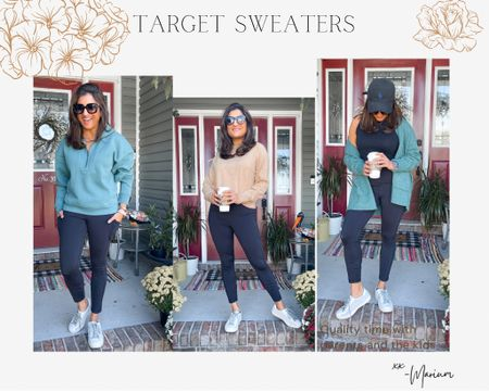 Target sweaters are 20% off. Linking some of my favorites. These colors are my go to for fall. Great to wear for winter too. Pair it with jeans or leggings. Wearing a size S in all.   #LTKstyletip #LTKsalealert #LTKunder50