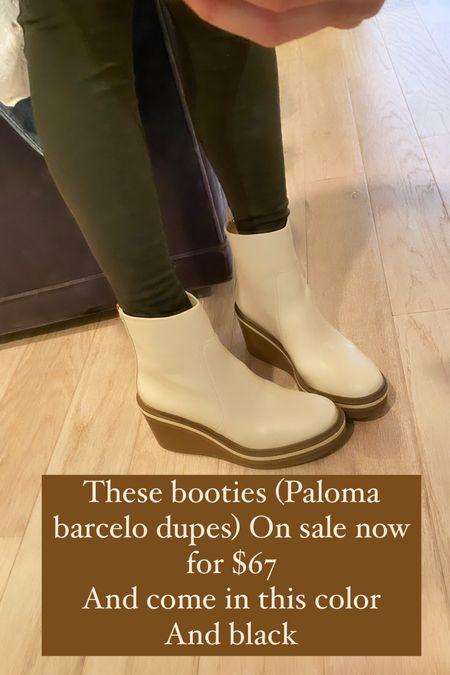 Wedge booties on sale for $67 Fall shoes, boots, shoe sale, Paloma barcelo dupes, designer dupes, shoe dupes, fall shoe trends   #LTKshoecrush #LTKunder100 #LTKsalealert