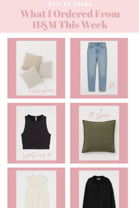 What I ordered from H&M this week. Pillows, sweater vest, jeans, workout top and collared sweater