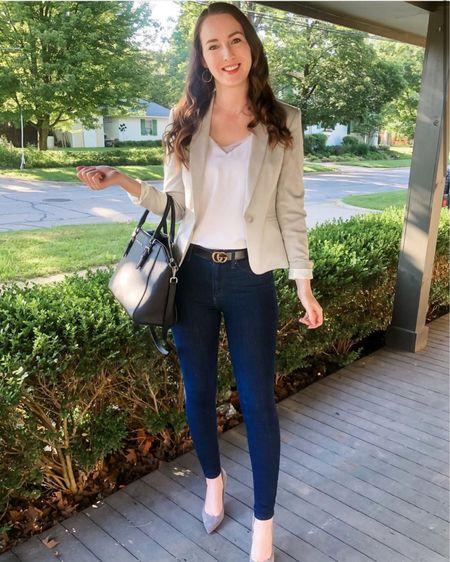 http://liketk.it/3heRK #liketkit @liketoknow.it #LTKworkwear blazer outfit, blazer with jeans, business casual, work wear, work wear Wednesday, work outfit, office look, smart casual, grey suede heels/pumps, light grey blazer outfit