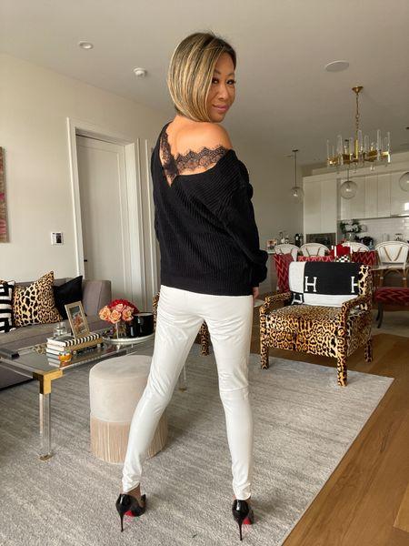 Fall style, Pantent leather leggings, black sweater   #LTKunder100 #LTKstyletip