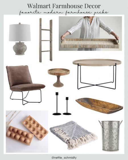 Modern Farmhouse Home Decor Finds from Walmart 🤍 Refresh your living room style with these beautiful decorative objects, industrial coffee table, leather accent chair, rustic blanket ladder, throw blankets, table lamp, neutral large tray and natural wood tones. Throw in some black candlestick holders and a galvanized bucket vase for some additional textures. I especially love these wooden egg storage trays! Perfect for farm fresh eggs 🥚  .  Shop my daily looks by following me on the LIKEtoKNOW.it shopping app  http://liketk.it/3jf0V  .  #liketkit @liketoknow.it #LTKsalealert #LTKunder100 #LTKhome @liketoknow.it.home
