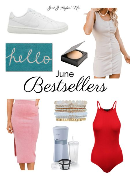 June Bestsellers! Amazon fashion, Amazon finds, Target finds, Pink Lily Boutique. White Nike sneakers, outdoor mat, nude nipple covers, beige casual dress, pink bodycon skirt, Victoria Emerson layered bracelets, iced coffee maker, red bodysuit. http://liketk.it/3jDAh @liketoknow.it #liketkit #LTKunder50 #LTKunder100 #LTKtravel #LTKhome