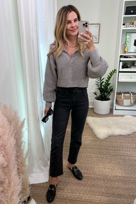 Madewell vintage str  Staight leg, petal a no pup sweater, quay Sunglasses link real and dupe loafers. Gold jewelry link , similar.
