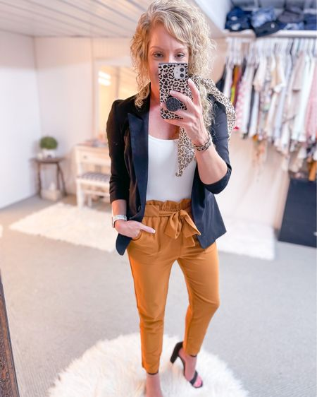 Paper bag waist pants  size small / black blazer size small / black heels fit TTS / white bodysuit size medium / workwear style / work outfit http://liketk.it/3jVOx #liketkit @liketoknow.it #LTKstyletip #LTKunder50 #LTKworkwear