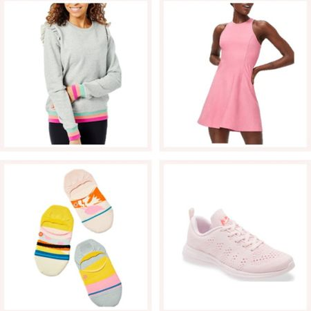 Outdoor voices pink exercise dress, colorful striped pullover, fun socks, and pale pink sneakers. A cute athleisure outfit that can easily be layered for chilly nights! @liketoknow.it #liketkit http://liketk.it/3e7Vd